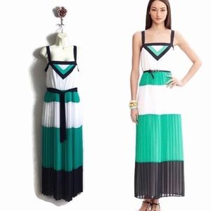 BR Milly Collection Pleated Color Block Maxi Dress
